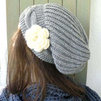 Hand Knit Hat- Womens hat - chunky knit Slouchy Beanie  Slouch  Hat Flower  Winter Accessories knitted beret silver gray Autumn Fashion
