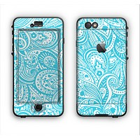 The Light Blue Paisley Floral Pattern V3 Apple iPhone 6 LifeProof Nuud Case Skin Set