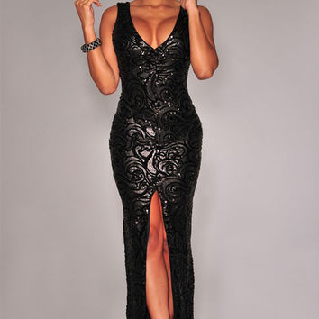 Black Sequined Front Slit Padded Maxi Gown #WE45009