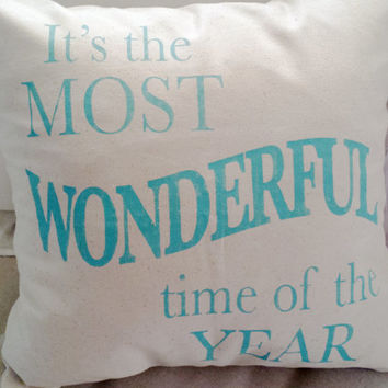 It's The Most Wonderful Time Of The Year Canvas Pillow Cover, Christmas Pillow, Holiday Pillow, Handmade Pillow