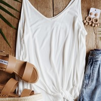 Knot Front Cupro Tank, Off White