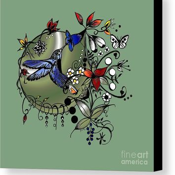 Colorful Hummingbird Ink And Pencil Drawing Canvas Print