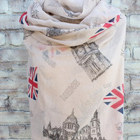 British flag  print infinity scarf for  Woman great accessory for your outfit