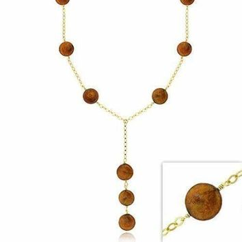 18K Gold over Sterling Silver Freshwater Cultured Champagne Coin Pearl Y Necklace