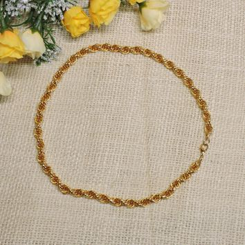 24K Yellow Gold Plated French Rope Twist Chain Necklace 5mm Men Women 20 Inch