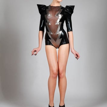 Lightning Bolt Bodysuit, Sexy Halloween Costume, Black Spandex & Mesh Romper, Puffy Sleeve Leotard, Glam Rock Stage Outfit, by LENA QUIST