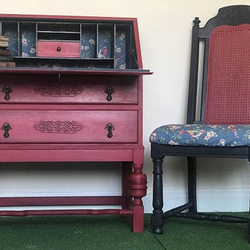 Retro Style vintage bureau / writing desk chest of drawers cabinet and matching chair SET