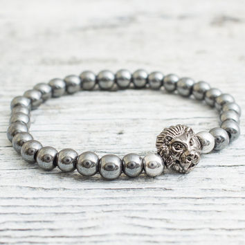 Hematite beaded gunmetal black Lion stretchy bracelet with silver plated hematite beads,  mens bracelet, womens bracelet
