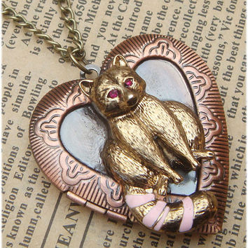 Steampunk Fox Locket Necklace Vintage Style by sallydesign on Etsy