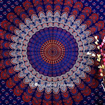 Buy Luxury Red and Blue Hippie Bohemian Circular Tapestry Bedspread