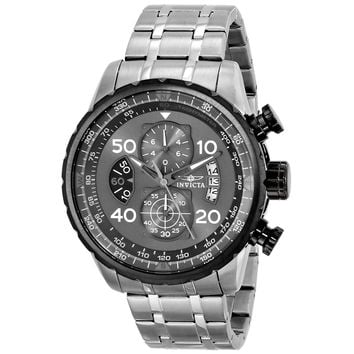 Invicta 17204 Men's Aviator Chronograph Gunmetal Dial Stainless Steel Bracelet Watch