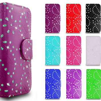 Bling Crystal Diamond Wallet Flip Stand Cover Case for Various Mobile Handsets | eBay