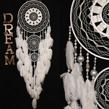 White Dreamcatcher mosaic Dream Catcher Large Dreamcatcher white Dream сatcher idea rhinestone dreamcatcher boho dreamcatcher gift christmas