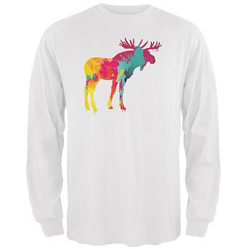 Splatter Moose White Adult Long Sleeve T-Shirt