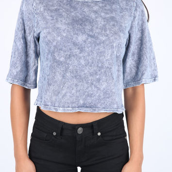 The Lucy Crop Top in Blue Mineral Wash