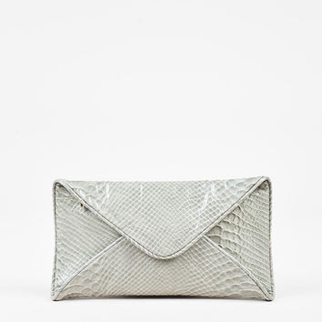 Loeffler Randall Gray Patent Embossed Snakeskin Fold In Clutch Bag,nice awsome real white bag sale