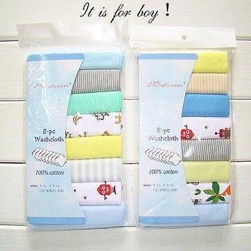 8Pc Baby Infant Newborn Towel Washcloth Bathing Feeding Wipe baby handkerchief face small towels
