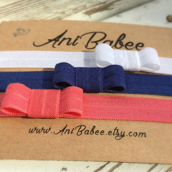 Navy Blue baby headband, Coral baby bow headband, baby headband set, white bow headband, three pack baby headband set