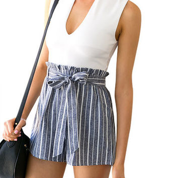 White Top and Stripe Bottom Self Tie Playsuit