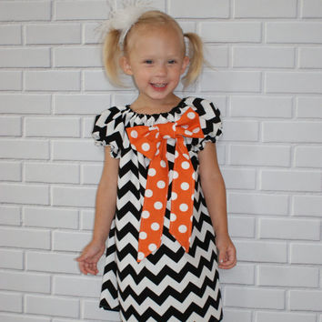 Halloween Chevron Dress Black and White Orange Polka Dots Boutique Clothing By Lucky Lizzy's