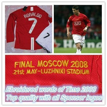 Final Moscow 2008 champions league home red long-sleeved jerseys,07/08 season #7 Ronal