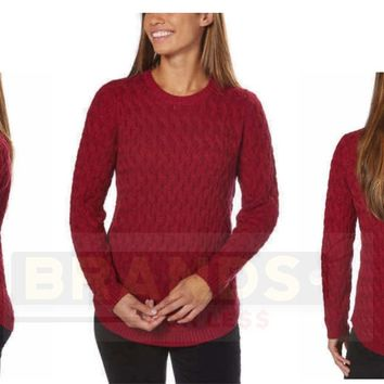 ✅NEW! Jeanne Pierre Women's Fisherman Cable-Knit Sweater Red Currant VARIETY