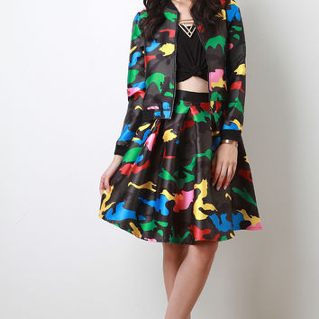 Colorful Camouflage Print A-line Midi Skirt