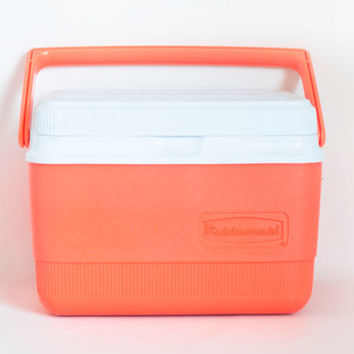"Vintage ""Totally Hot"" Rubbermaid Salmon Pink Personal Cooler, Ice Chest Lunch Box Tote, Bright Orange Pink, 5 QT"