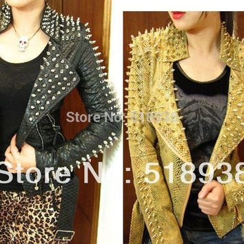 New 2014 Women zipper black glod Punk Strong Spike Rivet Studded Shoulder Snake Pattern PU Leather Jacket Coat autumn streetwear
