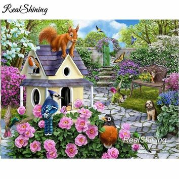 5D Diamond Painting Squirrel on the Birdhouse Kit