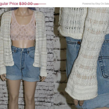 40% OFF 90s sweater jumper slouchy open bell flare seeves knit ivory white grunge hipster boho gypsy boho festiva hippie pastel goth xs s m