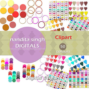 Clipart - Instant Download, Hearts, Geometrical Shapes, Circles and Rings, Stars,  Multicolour