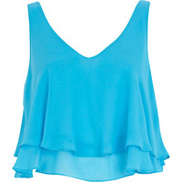 River Island Womens Blue double layered V neck crop top