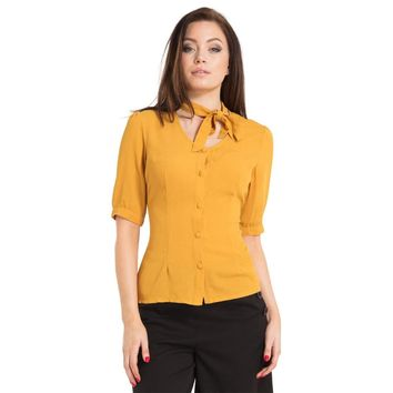 Voodoo Vixen Yellow Neck Bow Blouse