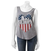 Mighty Fine Snoopy Flag Heart Tank - Juniors