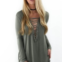 Wake Me Up Olive Long Sleeve Top