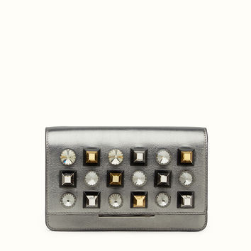 Wallet in glossy grey leather - WALLET ON CHAIN | Fendi | Fendi Online Store