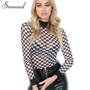 PEAPLO3 Simenual Half turtleneck fitness bodysuits checkerboard plaid long sleeve jumpsuit hollow out sexy hot bodysuit women clothing