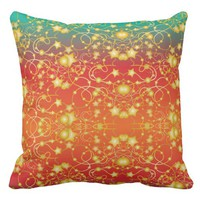 Golden Stars and Circles on A Gradient Background Throw Pillow
