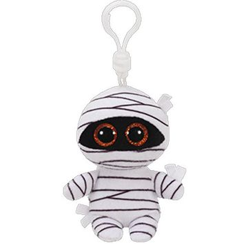 "Pyoopeo Ty Beanie Boos 4"" 10cm MUMMY the White Mummy Clip Keychain Plush Stuffed Animal Collectible Doll Toy"