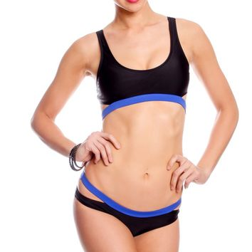 BLACK NAVY PADDED CHEST MULTI STRAP LOOK LO WAIST BOTTOMS TWO PIECE SWIMSUIT