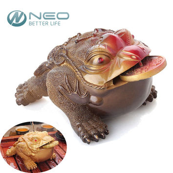 Frog Statue with the Coin Tea Pet Home Ornaments