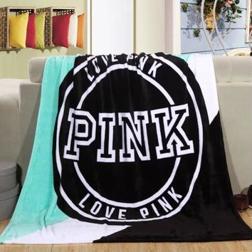 Pink Victoria Secret Vs Printed Comfortable Soft Fleece Warm Travel Blanket Sofa Cover-4