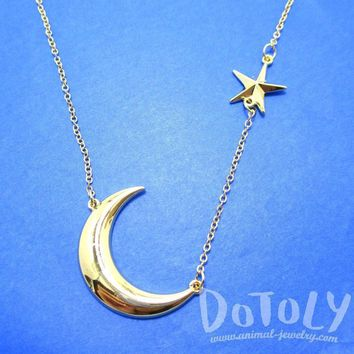 Celestrial Crescent Moon and Stars Charm Necklace in Gold | DOTOLY