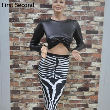 Sexy Women Winter Dresses Long Sleeve Bandage 2 Piece Set Black PU Top Zebra Print Bodycon Sexy Two Piece Club Party Dresses