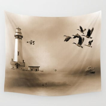 Lighthouse Bay Wall Tapestry by Theresa Campbell D'August Art