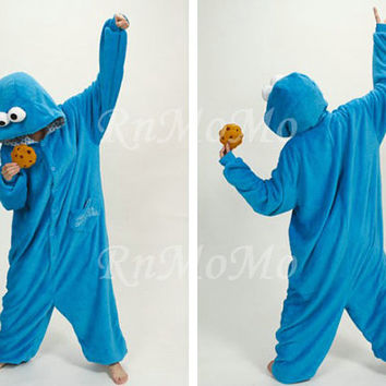 KIGURUMI Cosplay Romper Charactor animal Hooded Night clothes Pajamas Pyjamas Costume sloth outfit Sleepwear-Cookie Monster