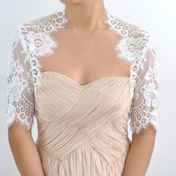 $249.99 Valerie Bridal french lace bolero shrug ivory by stylemadehere