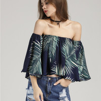 Fashion Sexy Off Shoulder Short Sleeve Leaves Print Chiffon Shirt Tops