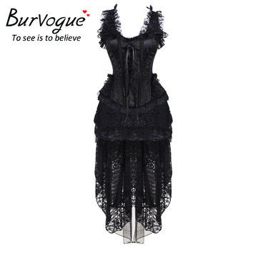 Burvogue New Victorian Gothic Steampunk Corset Dress Women Sexy Waist Control Corsets Bustier Top & Ruffle Lace Skirt S-3XL